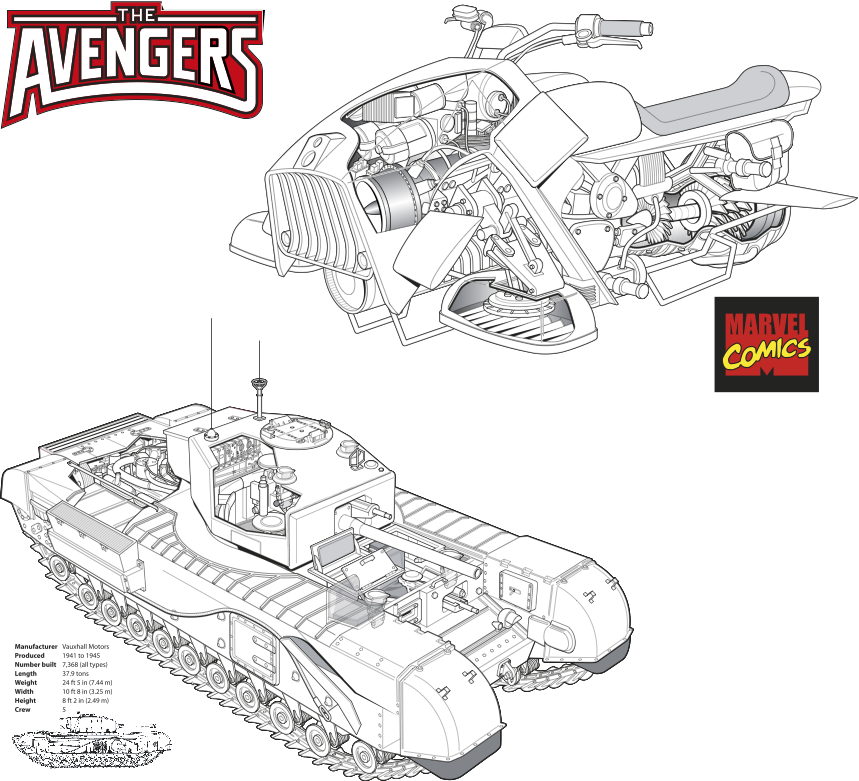 Ian-Moores-Graphics-Technical-Illustration-The-Avengers-Churchill-Tank